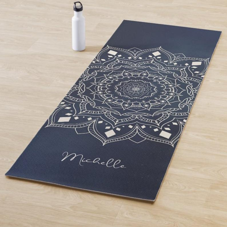 White Mandala – PRINTED YOGA MAT – Personalized Yoga Rug – Thick Yoga Mat – Yoga Lover Gift – Pilates Yoga Mat – Yoga Accessories