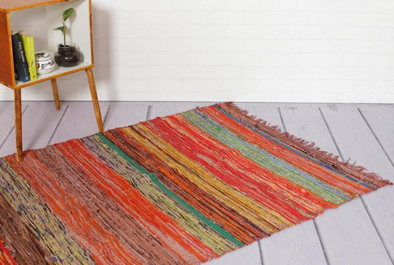 Home Décor Indian Traditional Handmade Hand-Woven Cotton 3*5 FT Rectangular Chindi Rug Floor Mat Reversible Meditation & Yoga Mat Carpet Rug