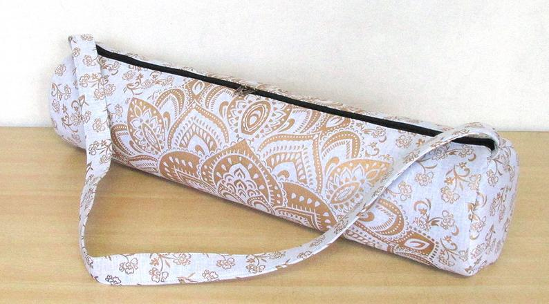 Indian Mandala Handmade Cotton White Gold Yoga Mat Bag Beach Bags Hippie Mandala Gym Mat Carrier Sports Bags With Shoulder Strap #HMIG3