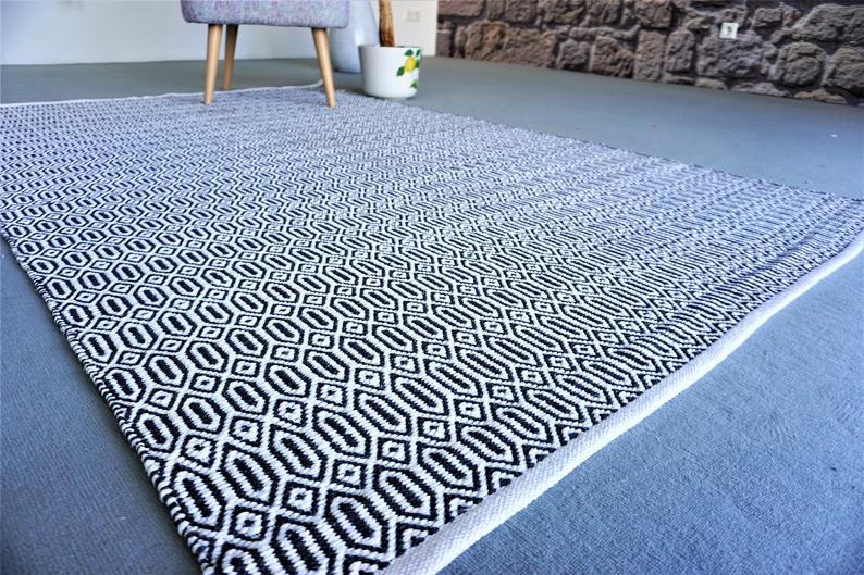 Scandinavian Rug Handwoven 100% Cotton Natural Living Room Rug Dining Room Area Yoga Matte Washable Rug Home Decor