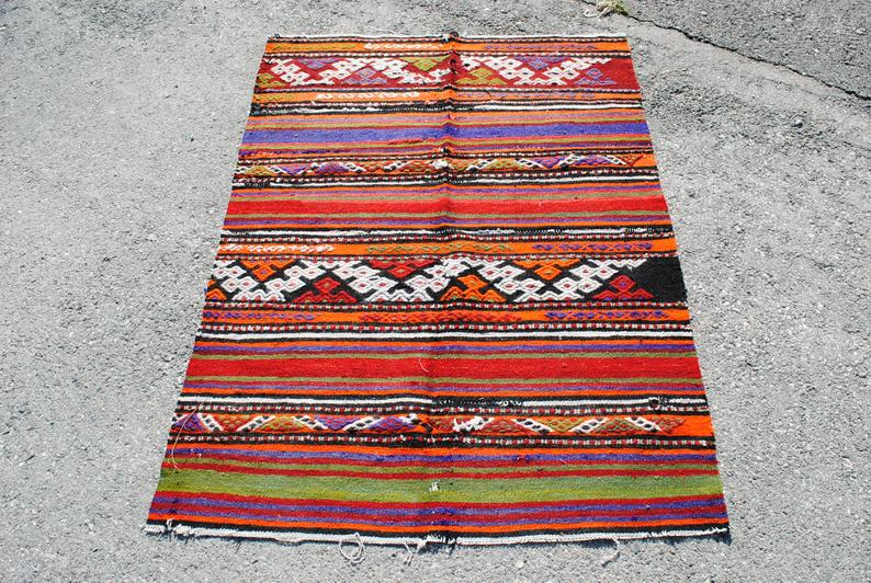 Rainbow Striped Turkish Kilim Rug Vintage Yoga Mat 3.4×4.5 ft free shipping, kilim carpets, kilim ottoman, boho kilim, kilim sofa TRHx 3982