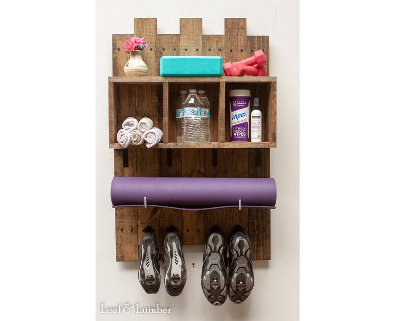 NEW LISTING* Yoga Mat Holder With Accessory Hooks and Box Shelf