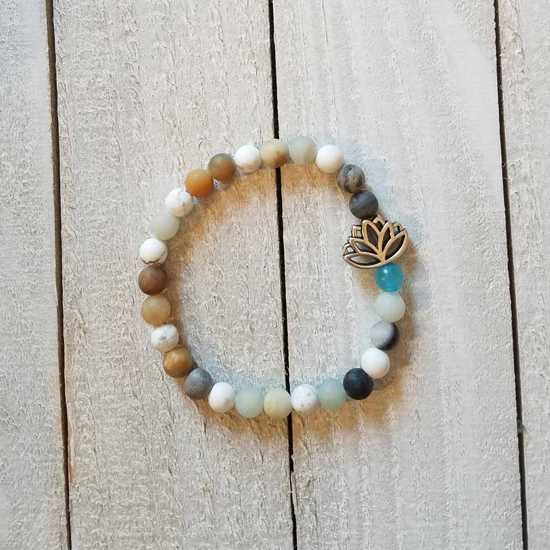Amazonite and Lotus Flower Bracelet, Stackable Bracelet, Bead Bracelet, Handmade Bracelet, Yoga Bracelet, Yoga Jewelry, Arm Party, Arm Candy