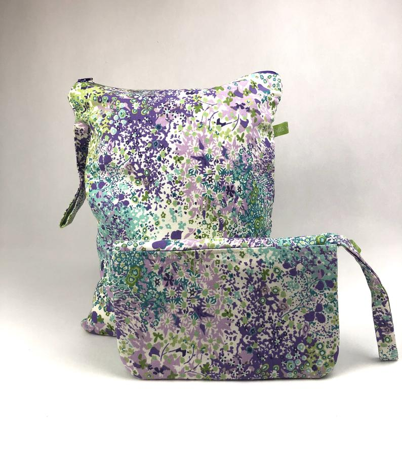 Diaper clutch and wet bag gift set, blue, purple, green floral print, diaper changing mat, wet clothes or sport bag, unique baby shower gift