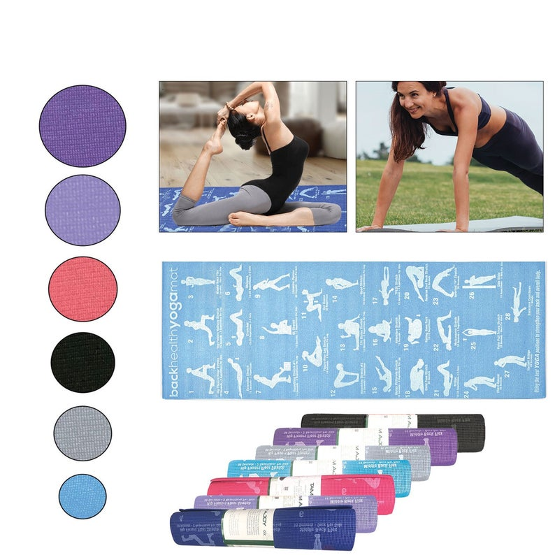 Yoga Mat, Non Slip & Eco – Friendly 5mm Thick Gym Mat And Carrying Strap, 28 Asana Postures, Fitness, Exercises And Training Mat, Pilates