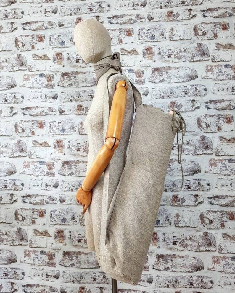 Linen yoga bag, natural linen yoga mat bag, big pilates bag, burlap sport bag, rough linen gym bag, beach bag, rustic tote bag with pockets