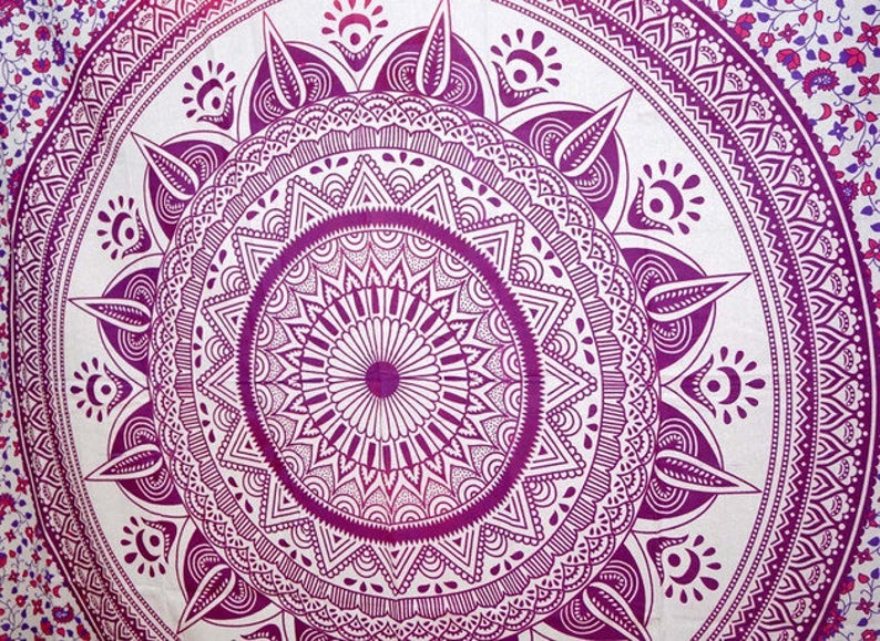 Hippie Dorm Decor Roundie Beach Sheet Bohemian Beach Towel Yoga Mat Tapestries Ombre Table Cloth Wall Hanging Indian Mandala Round Tapestry