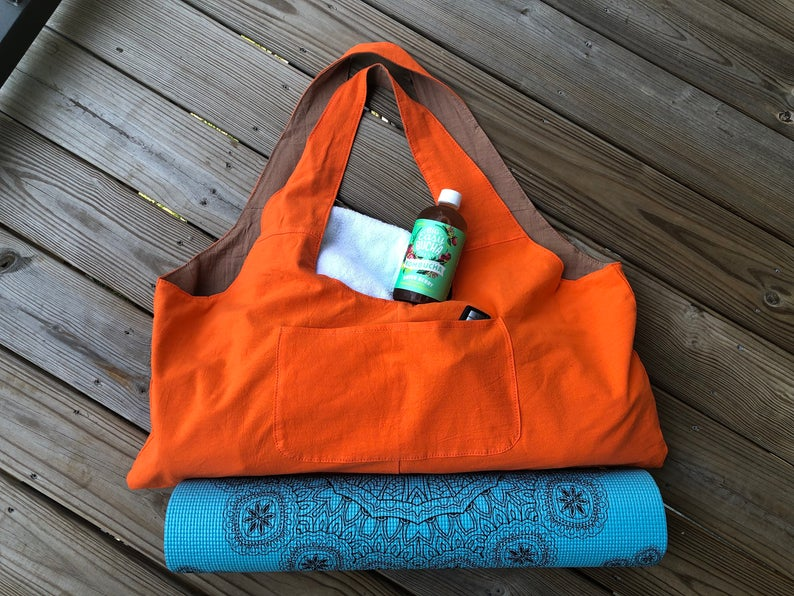 Large Linen Yoga Mat Bag | Natural, Eco Friendly, Light, Washable Yoga & Pilates bag with Zipper Pocket. New Large size to fit 26″ mats.