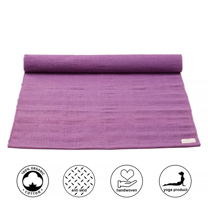 Organic Natural Cotton Mat for Yoga, Pilates, Fitness, and Meditation – Purple/Lavender (Handwoven, anti-skid & firm grip)