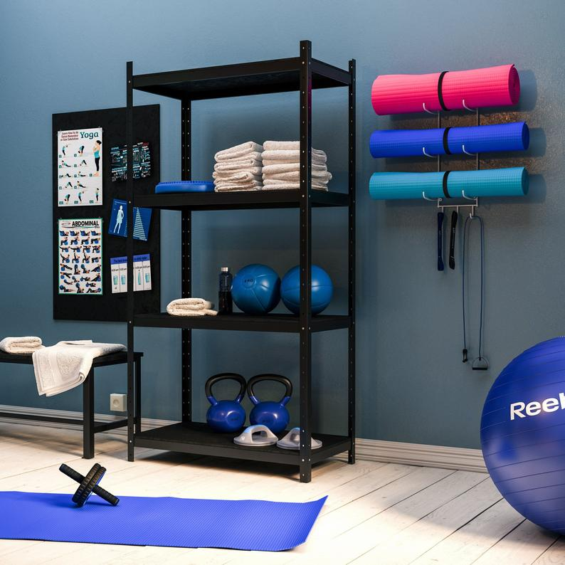Wall Mount Yoga Mat Storage & Foam Roller Rack – White