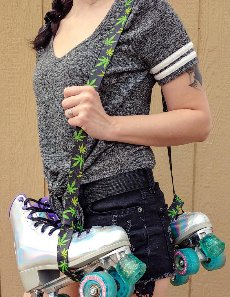 Mary Jane Pot Leaf Skate Leash – Adjustable –  Yoga Mat Strap – Skateboard Sling