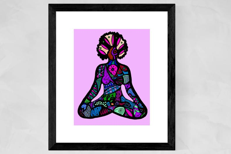 African American Art Prints, Yoga Art Prints, Black Yogi, Yoga Wall Art, Black Girls Rock, Lotus Pose, Afro, Christmas gift for her