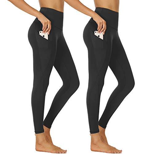 NexiEpoch Yoga Pants for Women – High Waist Tummy Control Stretch Women Leggings with Side Pockets for Workout, Training (Black/Black, X-X-Large)