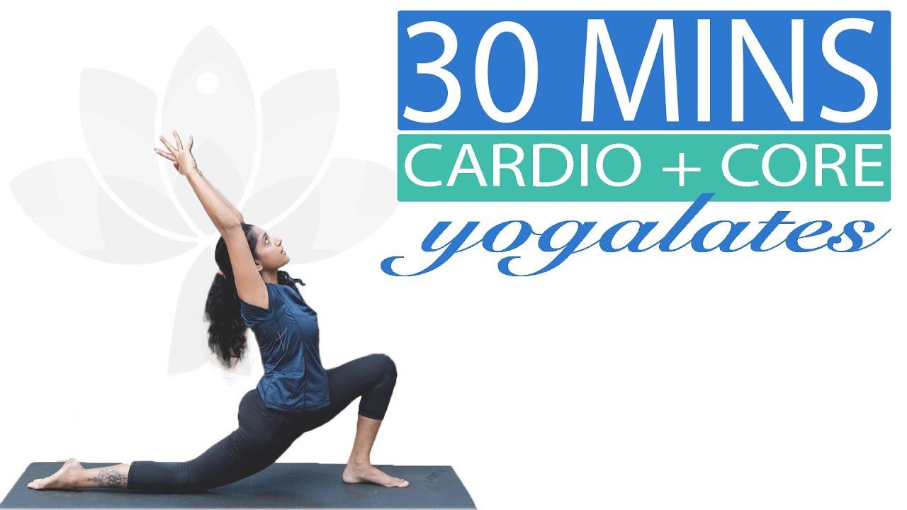 Cardio Chandra Namaskar + Core Yoga Workout |Flexibility + Belly Burn Workout| Yogalates with Rashmi