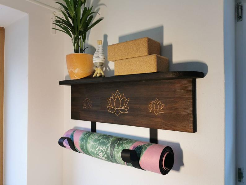 Yoga Mats Holder with Storage Area – Flamed Wood – Wall Shelf – Yogi Gift – Yoga Accessories