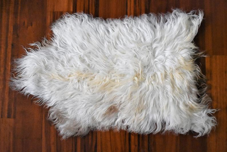 Swedish Rug, Sheepskin Pelt, Soft Shag Rug, Lodge Decor Gorgeous Beige Rug