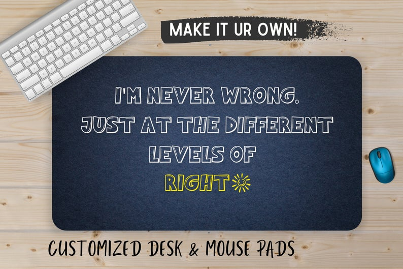 Funny desk mat, custom mouse pad, computer desk pad, Gift for him, monogram desk mat