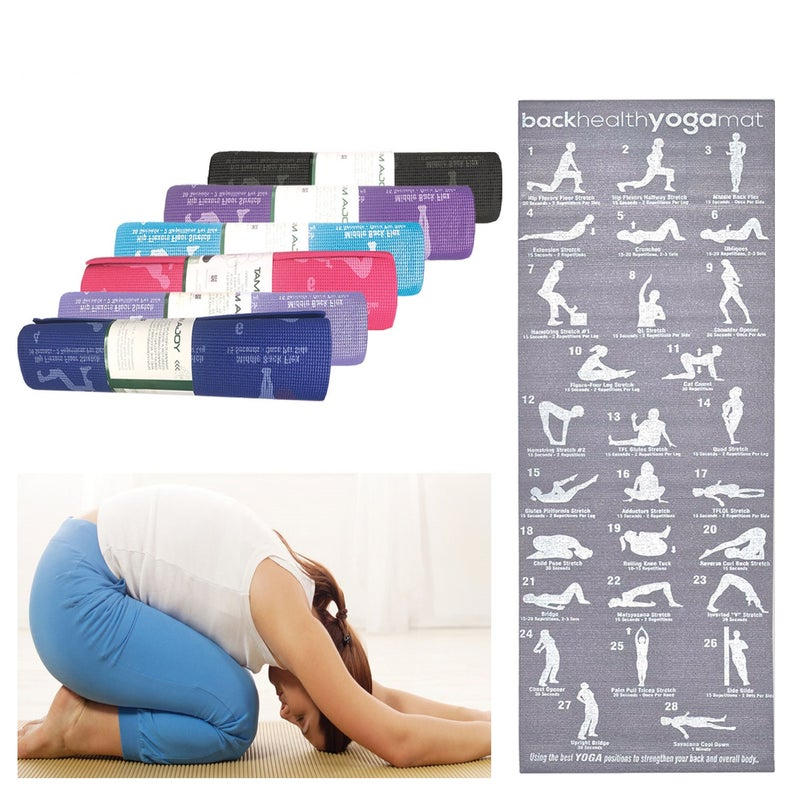 Non Slip Yoga Mat Training Mat Eco Friendly Workout Mats & Carry Strap, 28 Printed Poses Fitness Exercise Mats For Yoga, Gym, Pilates