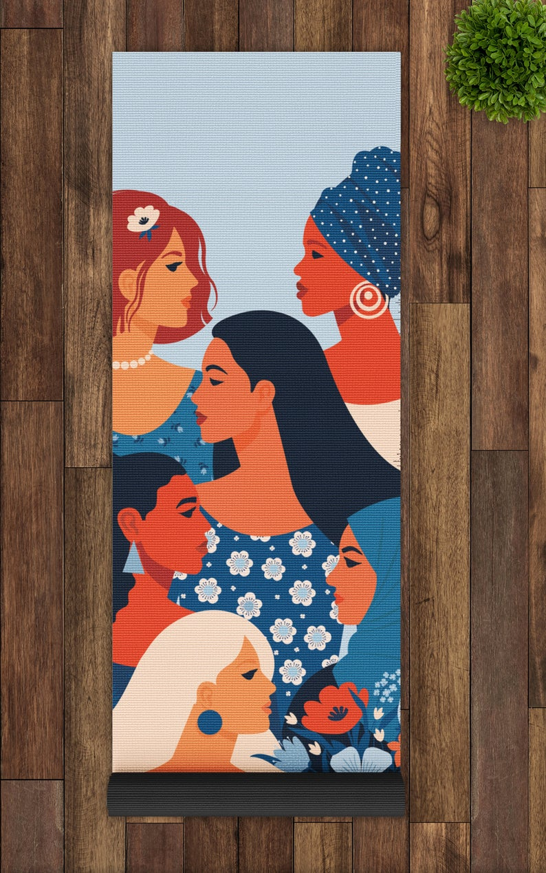 Feminist Yoga Mats, Feminism Yoga Mat, Beautiful Empowerment Yoga Mat, Diverse Women Print, Women Intersectionalism Illustration Yoga Mat