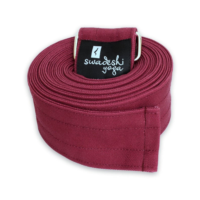 Swadeshi Yoga Strap • Soft and Durable 10′ Yoga Strap with Easy-to-Adjust Metal Loops • 2″ Width • Made in USA • Available in 3 Colors