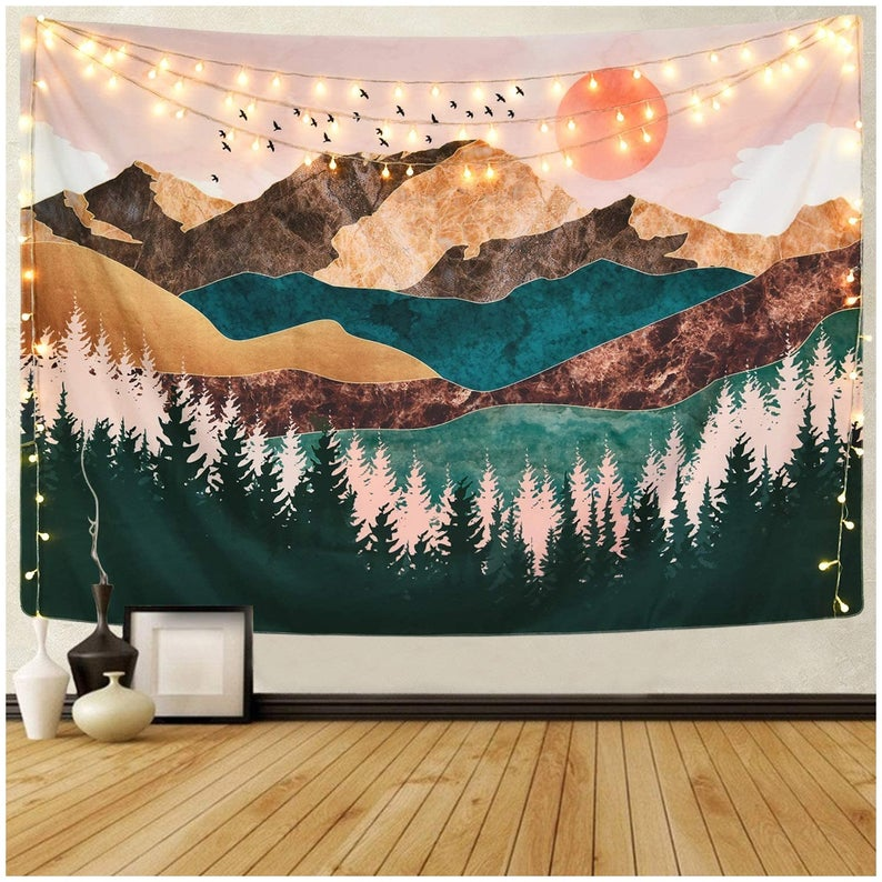 Mountain Tapestry Forest Tree Tapestry Sunset Tapestry Nature Landscape Tapestry Wall Hanging for Room(59.1 x 82.7 inches)