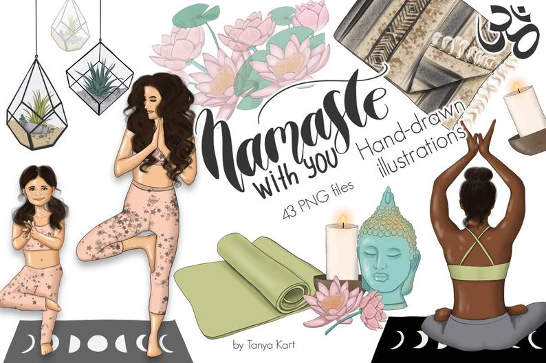 Planner Girl Clipart-African American-Yoga Girl Clip Art-Planner Stickers Diy-Digital Illustration-Namaste Clip Art-Meditation Clipart