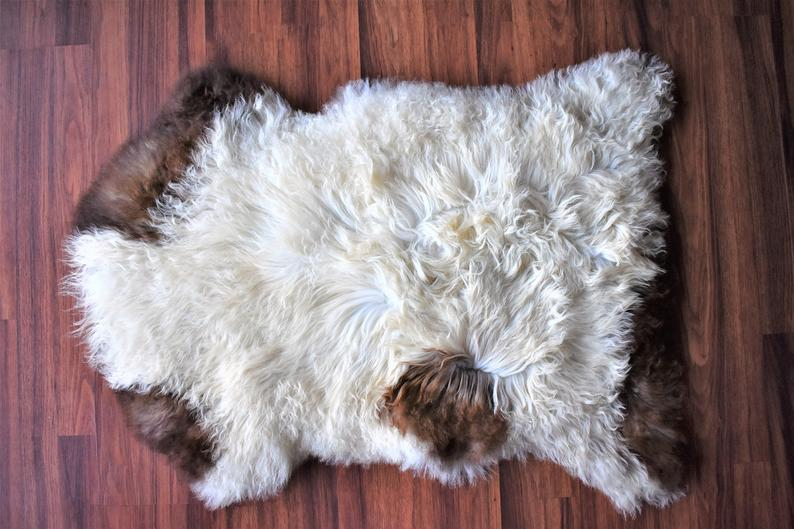 Sheepskin Throw, Elegant Sheepskin Pelt, Amazing Soft Long Wool, White Brown