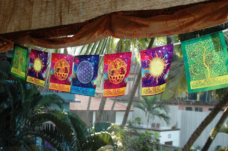 COSMIC HARMONY Prayer flag Flower of life Sun and Moon Celtic Tree of life Yoga mat Spiritual Meditation art Incense holder Bohemian decor