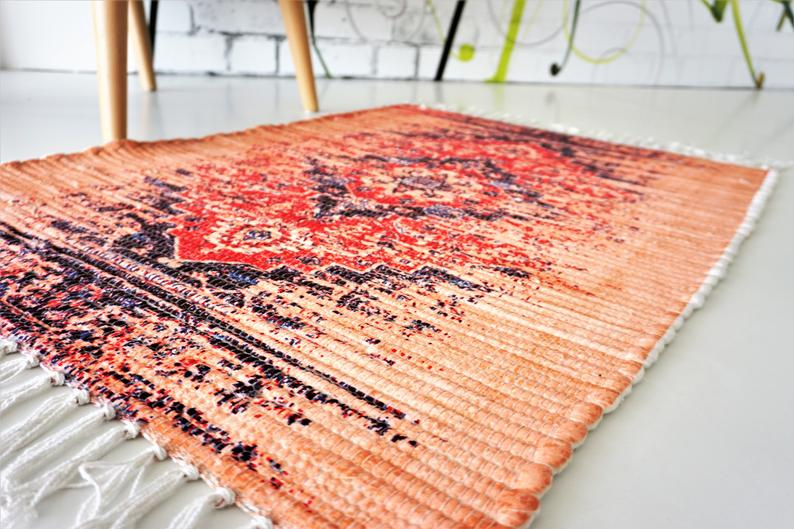 Hand-woven rugs Rag Rug washable printed Modern rugs Home decor Bath mats Door mats Yoga area Hall area Indian rug