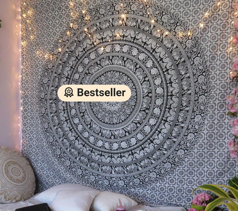 Black & White Multi tapestry Wall Hanging Mandala tapestries Indian Cotton Bedspread Picnic Bed sheet Blanket Wall Art Hippie tapestry