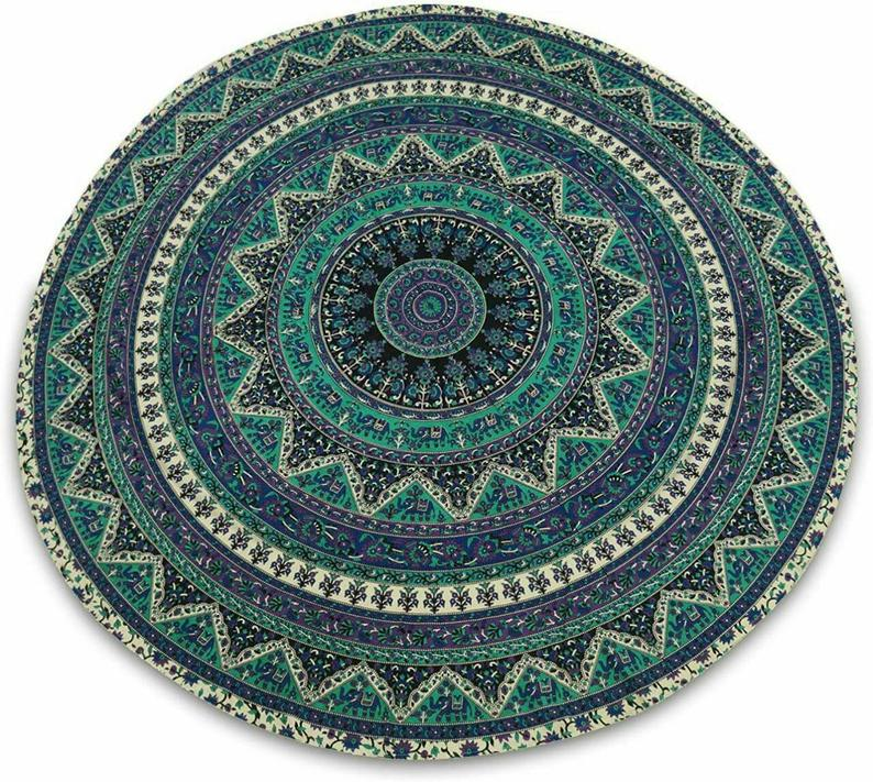 Hand made Natural Colour Mandal Design Indian Round Tapestry Table Cloth,Wall Decor,Yogabmat,Beach,Table Cover With Napkin Size 60″Diameter