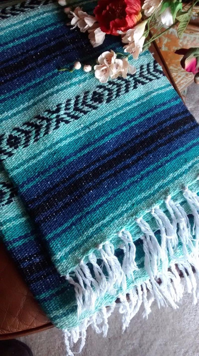 "RARE Color Falsa Mexican Blanket Mint Green and Blue with White Fringe lines XL""70 – 51″ Wide Aztec Serape"