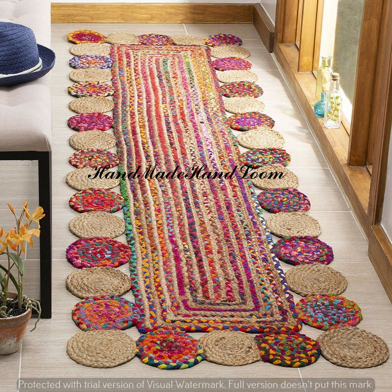 Bohemian Decor Area Rug Tapish Floor Braided Runner Natural Jute Cotton Area Rug Home Decor Braided Denim Carpet Meditation Mat Mandala Rug