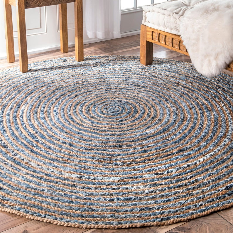 Handmade Jute Denim Rug Braided Jute Round Floor Rug Indian Natural Jute Rug Indian Handwoven Area Rugs yoga Mat with three different sizes