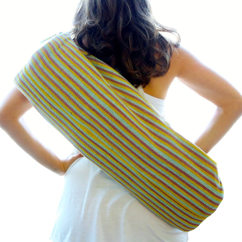 1 Zip Hand Woven Yoga Mat Bag – Peach, Blue, Yellow Stripes