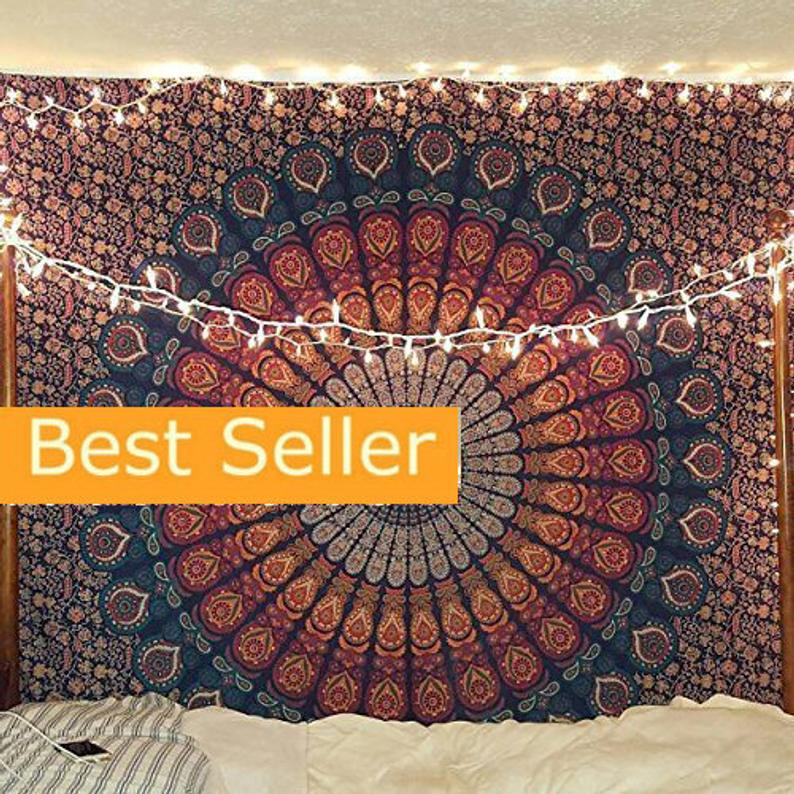 Tapestry Blue Multi Tapestry Wall Hanging Mandala Tapestries Indian Cotton Bedspread Picnic Bed sheet Blanket Wall Art Hippie Tapestry