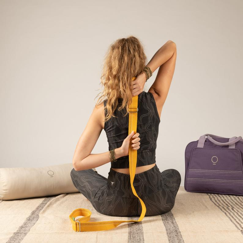 The Slingy Strap, Ananas Yellow, Yoga strap, Sling, Mat Sling,Yoga Mat Carrier, Yoga Accesories, Yoga Gift