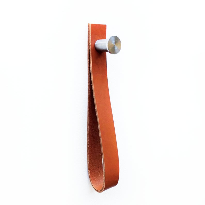NOBI Leather MULTI STRAP peg combo Towel Rack holder, wall hook strap, Magazine Holder, Leather Strap Hanger, Custom Hanger, Hanging Storage
