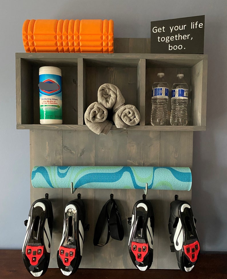 Yoga Mat Holder, Gym Organizer, Shoe and Towel Exercise Rack, Shoe & Towel Storage, Exercise Organizer, Spin Bike Organizer, Yoga Organizer