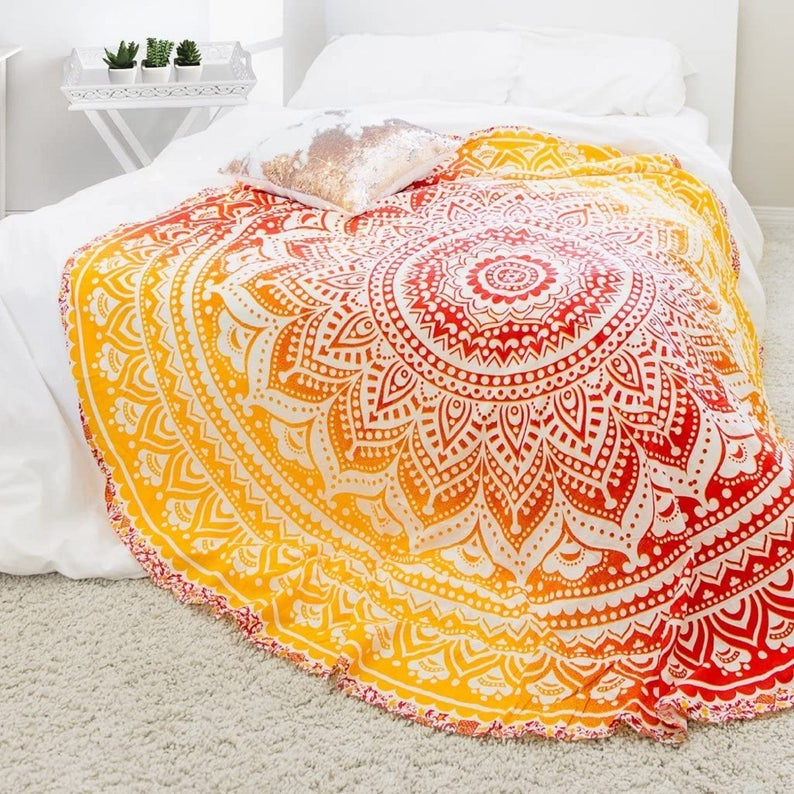 Round Tapestry 100% Cotton Indian Mandala Wall Hanging Beach Throw Picnic Blanket Yoga Mat Hippie Bohemian Decor Art Deco Round Tapestry