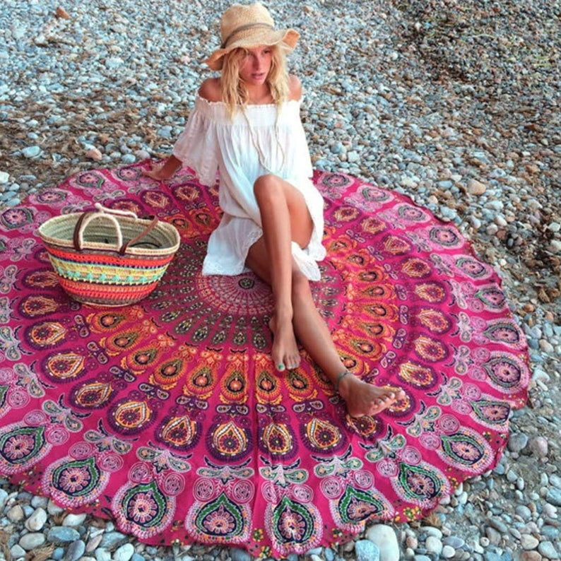 Large Mandala Round Tapestry Wall Hanging Bedspread Handmade Beach Round Tapestry Picnic Blanket Yoga Mat Table Cloth Hippie Dorm Decor