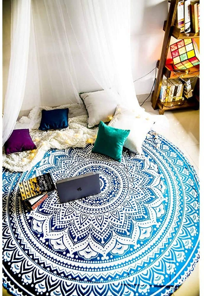 Blue Round Tapestry Hippie Mandala cotton Wall Hanging Beach Throw Table Cloth Picnic Blanket Yoga Mat Beach Towel Hippie Wall Decor