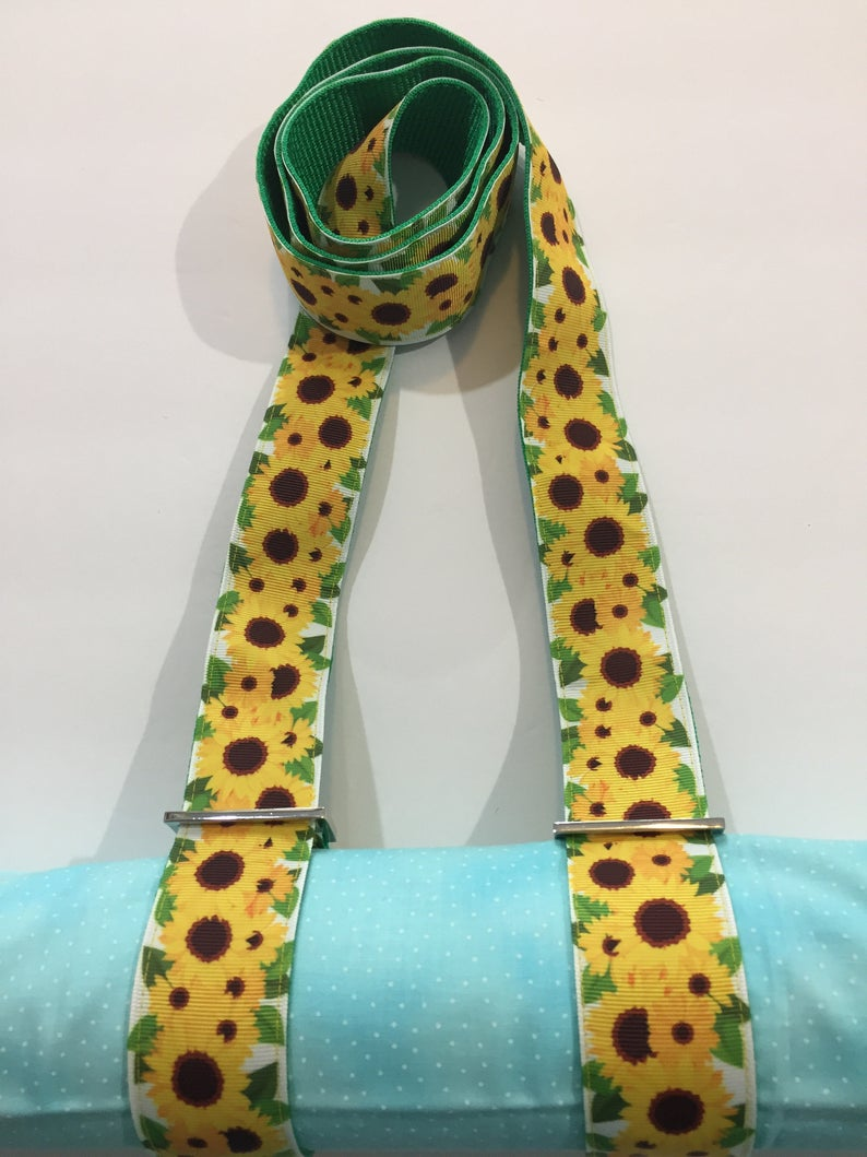 Handmade Bright Sunflowers Yoga Mat Strap or All Purpose Carry Strap