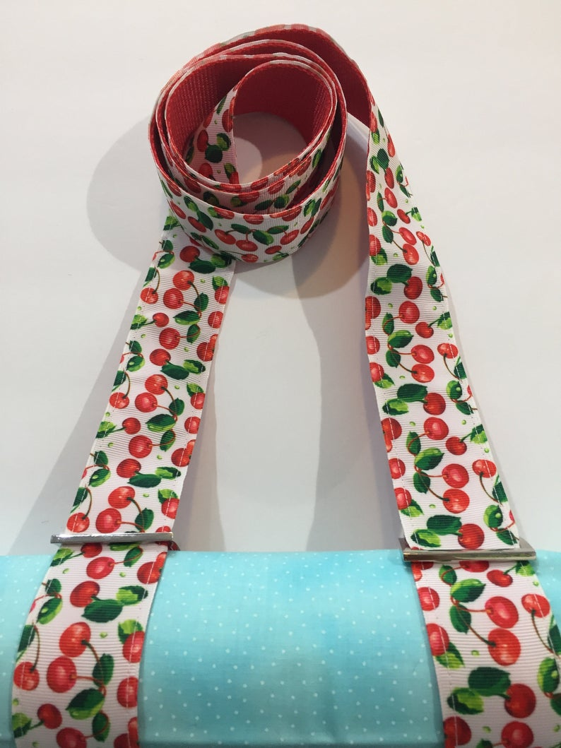 Handmade Red Cherries Pattern Yoga Mat Strap or All Purpose Carry Strap