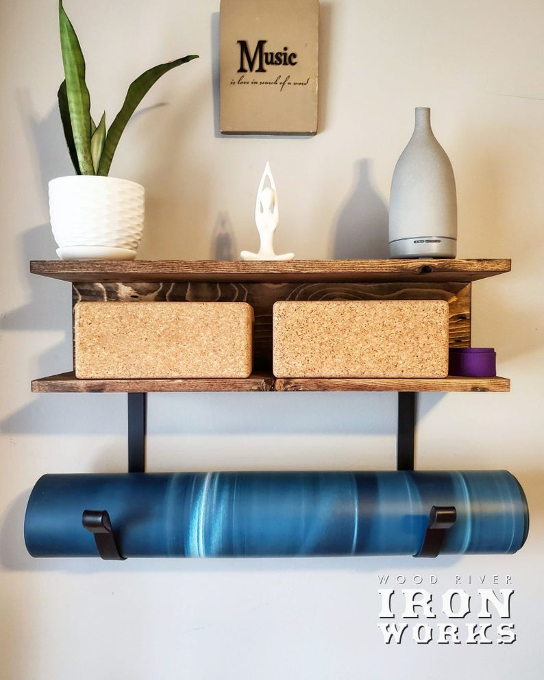 Yoga Mat Rack 2 Shelves, Yoga Decor, Gym Mat Rack