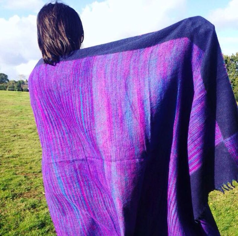 Purple Hippie Vegan Recycled Fleece Blanket, Stripe Throw, Warm Wrap Shawl, Indian Nepalese Tibetan Yoga Meditation Mat, FREE SHIPPING