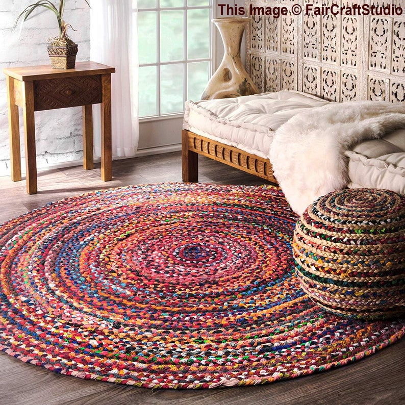 Vintage cotton round rag rug colorful chindi area rug Bohemian hand braided carpet floor rug yoga mat living room rug