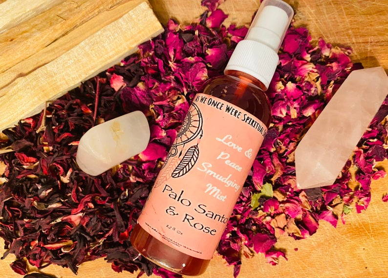 Sacred smudging mist palo and rose, yoga mat cleaner, meditation
