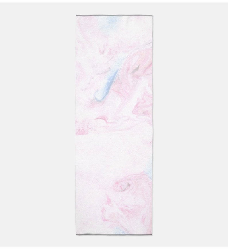 Pastel Marble Yoga Mat Towel, Yoga Towel, towel mat, long towel, beach towel, athletic towel, microfibre towel, unicorn marble, pastel pink