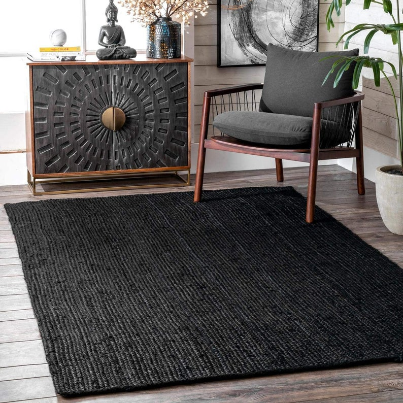 Hand Braided Bohemian Black Color Pure Jute Runner Area Rug Home Decor Rugs  Beautiful Floor Decor Carpet